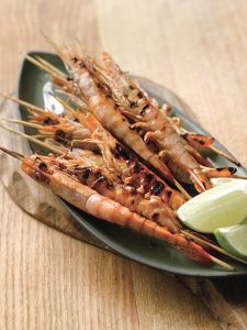 , Skewered Sweet and Sour BBQ Prawns