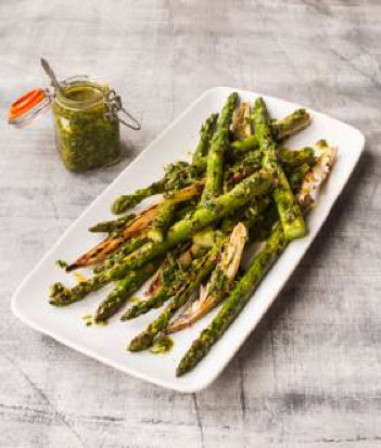 , Vegan BBQ British Asparagus and Shallots with Salsa Verde