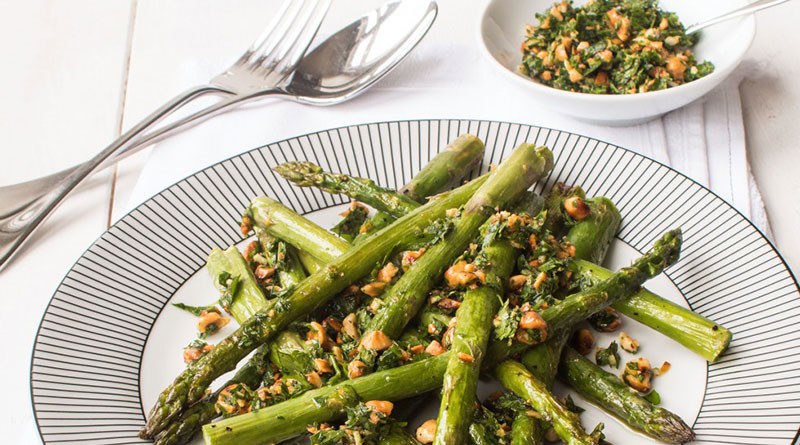 , Roasted Asparagus With Hazelnut Gremolata