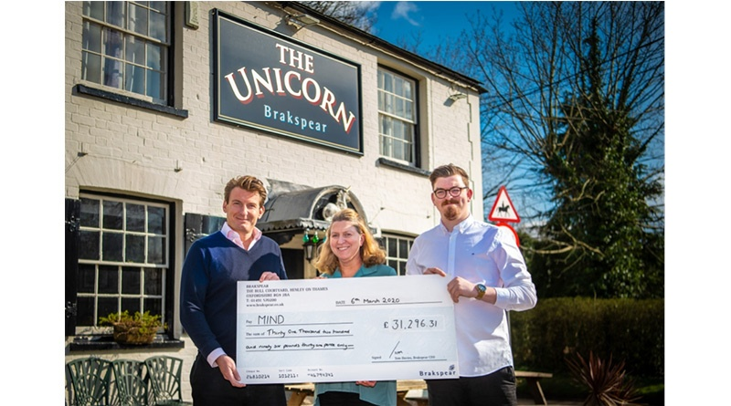 Brakspear Presents Final Cheque To Mind Over, Brakspear Presents Final Cheque To Mind Over £30,000 Raised For Mental Health Charity